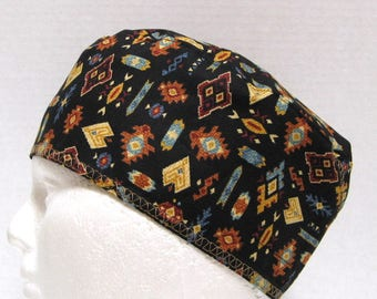 Mens Scrub Hat or Surgical Cap Tribal Designs on Black