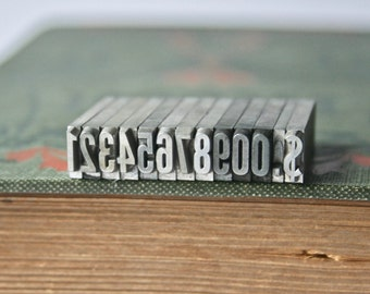 Vintage Letterpress Numbers with Dollar Sign and Decimal Point for Printing and Stamping