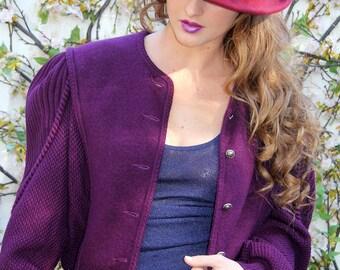 Vintage Cardigan GEIGER Austria Wool Sweater Purple  // Vintage Sweaters by TatiTati Style on Etsy