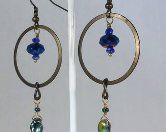 Turkish Blue and Magatama Indigo Flames Bronze Rings and Magic Coated Czech Bead Earrings Exotic Boho Bellydance Steampunk Fantasy Party
