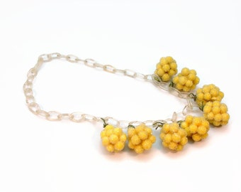 Sugar Bead Lemon Fruit Celluloid Necklace, 1930s Jewelry, Early Plastic Necklace, Yellow Fruit, Charm Necklace, Vintage Jewelry