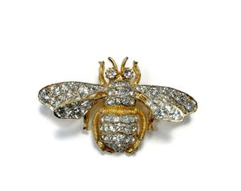 NETTIE ROSENSTEIN Trembler Bee Brooch, Pave Rhinestone, Vintage Jewelry, Crystal Brooch, Insect Pin, Estate Jewelry, Figural Brooch
