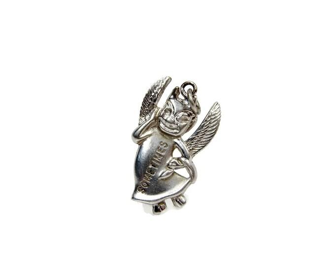 Feeling Devilish Sometimes Wells Sterling Charm, Sterling Silver, Vintage Charm for Charm Bracelet, Devil Charm, Vintage Jewelry