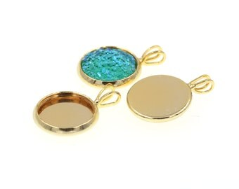 10pcs of 12mm Shiny Gold Tone Charm Drop Pendant Tray Bezel Blanks, Made with Brass