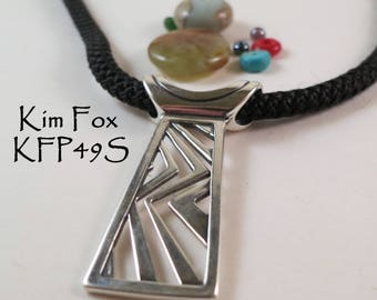 Higher Ground Pendant tabular pendant in Silver designed by Kim Fox