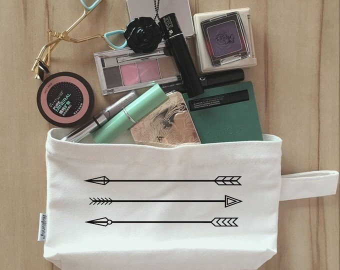 Arrows, Bridal Party Makeup Bag, Canvas, Bridesmaid Makeup Pouch, Wristlet, Customize Clutch