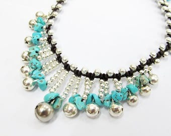 Belly Dance Anklet - Turquoise Chip Stone Cascade Ankle Bracelet with Silver Color Bead
