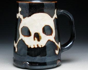 Skull & Crossbones Pint Mug in Metallic Bronze Glaze