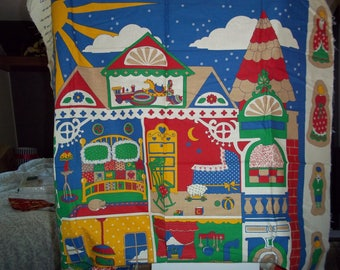 Vintage Fabric Dollhouse Wall hanging