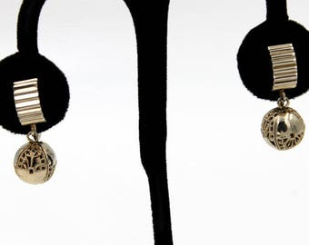 Goldtone Modernist Earrings with Filigree Style Beads, ca. 1950s
