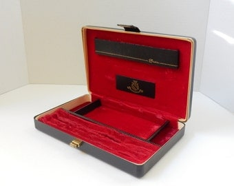 Men's valet made by Shields mid century men's jewelry box red velvet gifts for him mens accessories jewelry storage