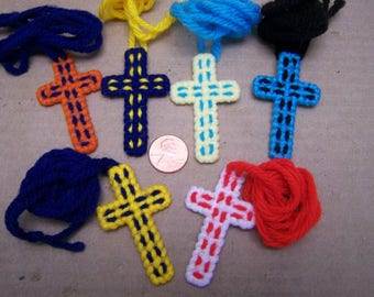 WHOLESALE Lot of 6 Colorful Yarn Cross Necklaces w Stiff Backs - Mexico