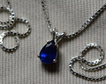 Sapphire Necklace, Blue Sapphire Pendant 0.57 Carat Appraised at 450.00, September Birthstone, Genuine Sapphire Jewellery, Oval Cut