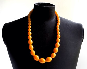 Vintage necklace, 29-inch yellow-orange mimosa marbled plastic, chunky graduated oval beads, 1940s, 1950s, gold-filled clasp