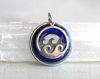 royal blue wave necklace, ocean necklace, wave jewelry, ocean jewelry, beach necklace, beach jewelry, unique gift, nature necklace