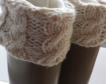 Boot Liners with Cable Knit Cuff, fleece cream sock, Rain Bootsocks, Tall or Short Rain Boots, Boot Cuffs,Socks, Size sm/med or med/lrg