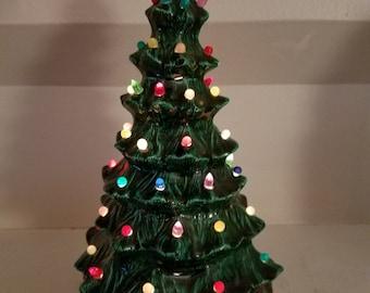 "Vintage 8.5"" Greenware Ceramic Green Lighted Christmas Tree"