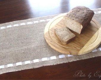Burlap Table Runner - Burlap Runner with White Double Face Satin Ribbon - Home Spa Decor - Country Chic Home - Gift Idea