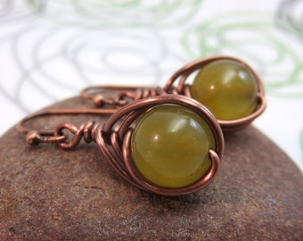 Rainbow jade earrings - Copper earrings - olive green yellow - antiqued copper wire wrapped gemstone earrings -  wire wrap earrings