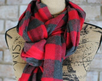 Red Buffalo Check Blanket Scarf - Red and Gray Flannel Scarf - Grey Flannel Scarf - Buffalo Plaid Scarf - Plaid Flannel Scarf - Teacher Gift