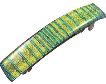 """Dichroic Barrette - 3.5"""" / 90mm - Gold Golden Yellow with Green Striped Reed Textured Stripes Fused Glass"""