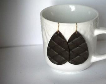 Brown Quilted Diamond Leather Teardrop Drop Earrings