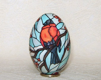 Bullfinches on winter tree on motives of stained glass  Goose egg  Pysanka