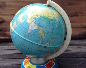 Vintage Tin Litho World Globe
