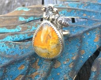 Honey Bee Sterling Silver ring bumblebee jasper ring, honeycomb sterling ring, beehive ring
