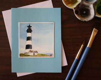 Miniature 3x3 Original Watercolor Note Card Lighthouse