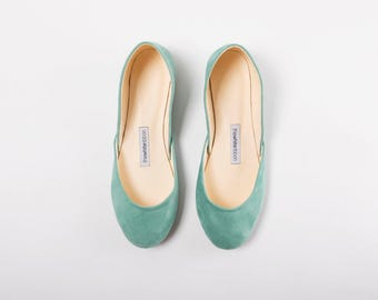 The Suede Ballet Flats | Leather Ballet Flats in Tiffany Green | Pointe Shoes in Aqua