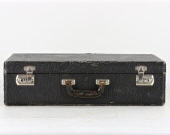Vintage Suitcase, Black Suitcase, Vintage Black Suitcase, Old Suitcase, Luggage, Old Luggage, 1940's Suitcase, Suitcase
