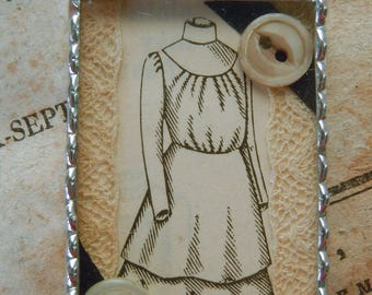 Fiona & The Fig - Victorian Era-Shadowbox Sewing Charm - Soldered Charm - Necklace - Pendant-Jewelry