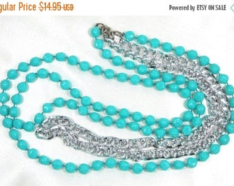 ON SALE Vintage Signed Sarah Coventry 1971 Aqua and Silver Chain Necklace