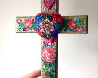 Puff heart with folk art on XL wooden cross / mexican craft  // OOAK art / Mexican Love wedding