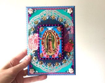 Our lady of guadalupe vintage image on wooden plaque/ Mexican craft  // OOAK folk art / Mexican Love wedding