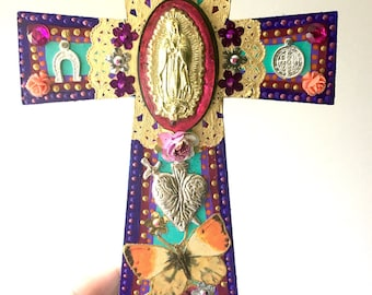 vintage gold virgen guadalupe ex voto with butterflies on xl wooden cross mexican craft
