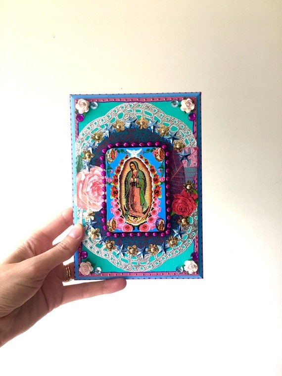 Our lady of guadalupe vintage image on wooden plaque mexican for Our lady of guadalupe arts and crafts