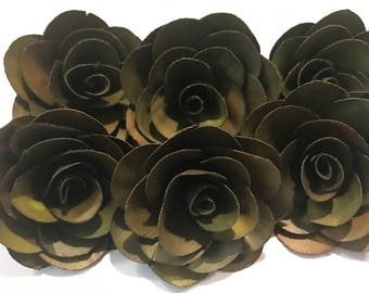 Olive Green Sola Flowers-- Set of 6 Olive Green  Sola Flowers- Wedding Flowers. Ready to ship!