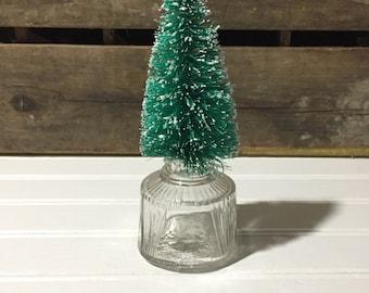 Christmas tree bottlebrush tree Vintage Glass Ink Bottle Repurpose Reuse Home Decor