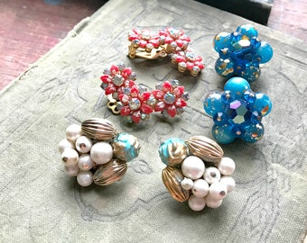 3 Sets Clip Earrings / Vintage Cluster Crafting Pieces / Brooch Bouquet Filler / Altered Art or Assemblage Pieces (H6)