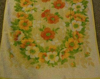 Orange & Yellow Floral Print Bath Towel ,All Cotton Towel