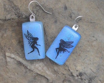 Faerie Earrings Fused Dichroic Glass Faerie Jewelry