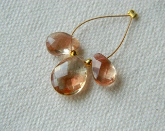 Rare set of 3 Matched Pair and focal of AAA RED Schiller Oregon Sunstone briolettes beads 9.5mm x 6mm to 11.5mm x 9mm