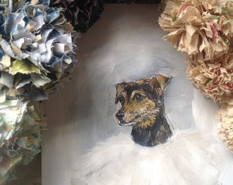 Black and Tan terrier dog - original ink & paint on paper