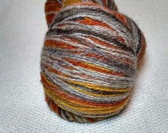 Kauni Wool Yarn 8/2 Color eb, Self-Striping, Grey Brown Orange Mustard Yellow EB