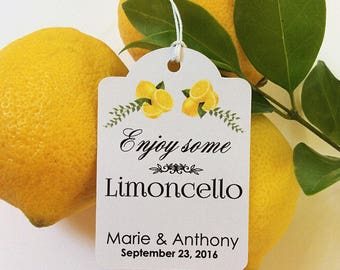 50 Personalized Printed WEDDING FAVOR Tags Limoncello Favors