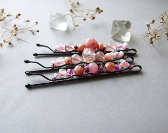 Pink Bobby Pins Set, Romantic Pale Pink Hair Pins, Pastel Bobby Pins, Sweet Pink Bobby Pins