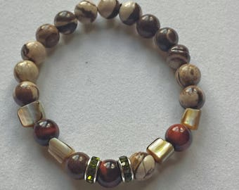 Handmade Zebra Jasper,Red Tigers Eye and Mother of Pearl mala bracelet,yoga,new age,gemstone bracelet,boho, confidence,spiritual jewelery