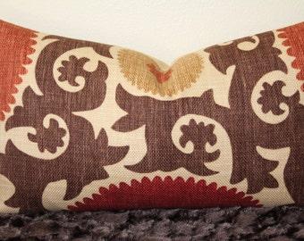 "Fahri Clove Suzani Print Decorative 12"" x 20"" Lumbar Pillow Cover - Basket Weave - Rust,Red,Chocolate Brown and Sand"